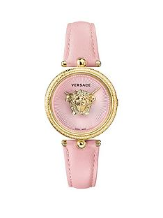 8acdc128e5 VERSACE Versace Palazzo Empire Pink Sunray Guilloche and Gold Medusa 34mm  Dial Pink Leather Strap Ladies Watch