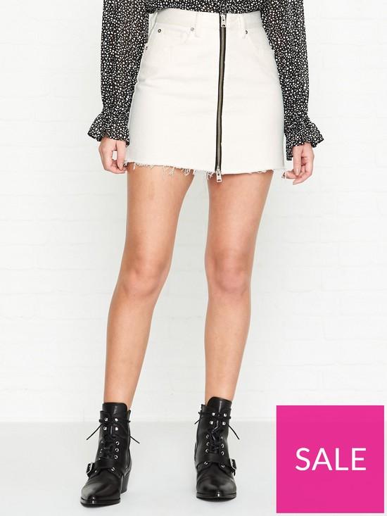 d310b11f6f1b8c AllSaints Lomo Denim Skirt - White | very.co.uk