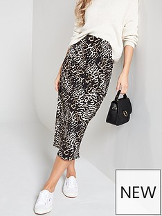 V by Very Printed Bias Midi Skirt - Leopard 9dccf3fae