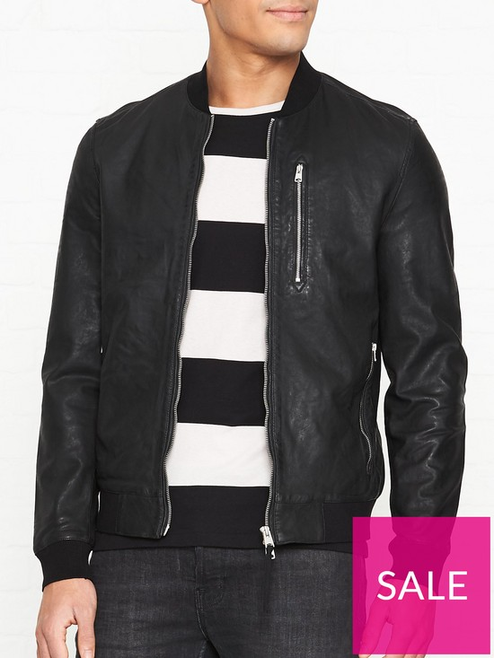 c5fc594af5a9 AllSaints Kino Leather Bomber Jacket - Black | very.co.uk