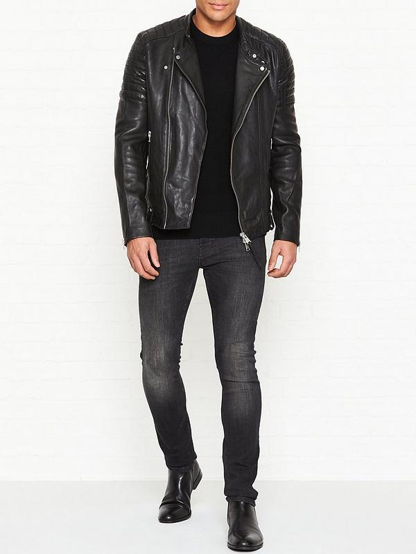 80ca1a627 Jasper Leather Biker Jacket - Black