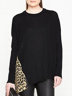 allsaints-bennie-leopard-print-back-jumper-black