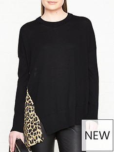 allsaints-bennie-leopard-print-back-jumper-black