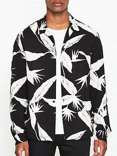 allsaints-virginia-leaf-print-shirt-black