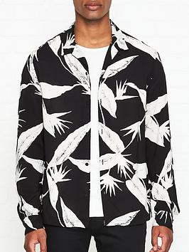 allsaints-virginia-leaf-print-shirt-black
