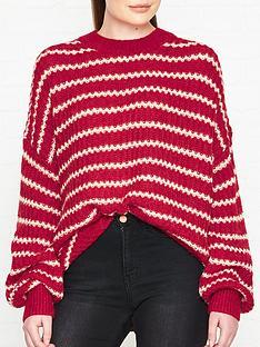 allsaints-renne-stripe-jumper-red