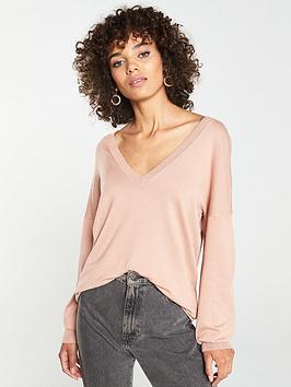 v-by-very-v-neck-blouson-sleeve-slouch-jumper-light-camel