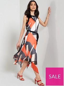 wallis-geo-print-colour-block-hanky-hem-dress-multi