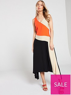 wallis-colourblock-hanky-hem-midi-dress