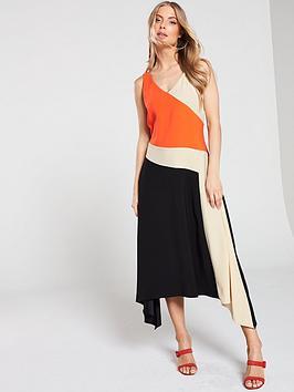 wallis-colourblock-hanky-hem-midi-dress