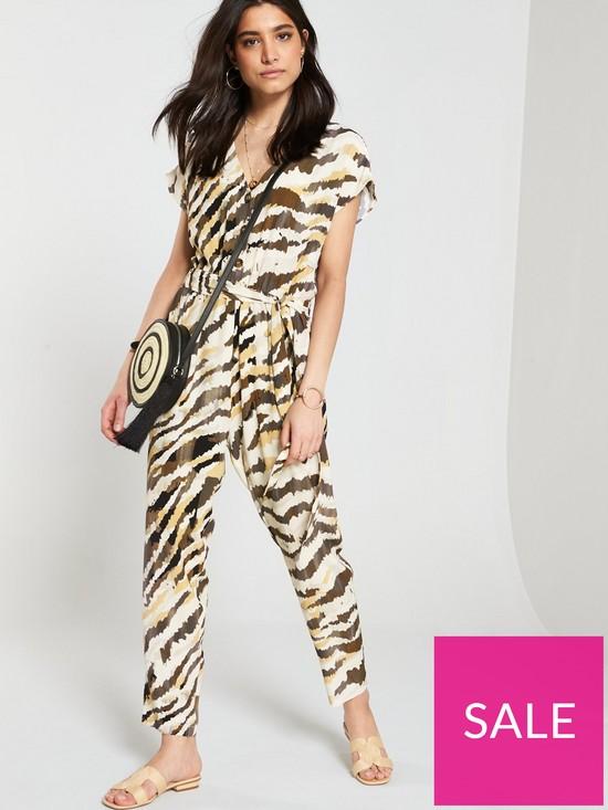 0ad7bc3aed76 Wallis Zebra Jumpsuit - Khaki | very.co.uk