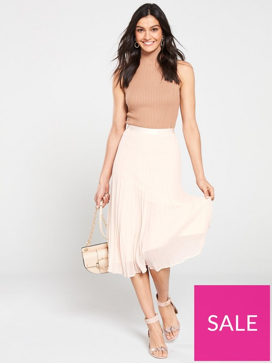 12d153b6aa Wallis Pleat Midi Skirt - Blush | very.co.uk