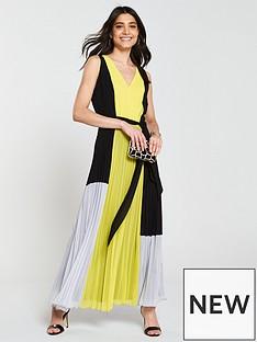 wallis-colour-block-pleated-maxi-dress-yellow-black