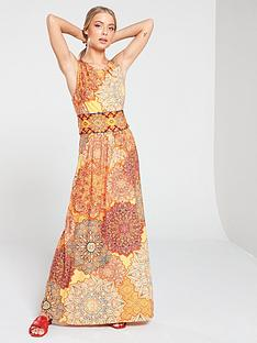 wallis-orange-tile-maxi-dress
