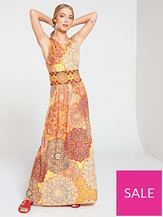 wallis-orange-tile-maxi-dress