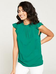 c12832f226 Oasis Pleat Neck Casual Shell Top - Green