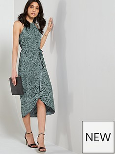 31d72574fe6d1c Oasis Oasis Textured Animal Wrap Midi Dress