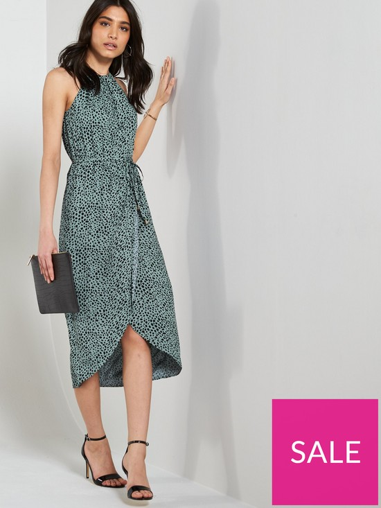 2d14a6926ffb Oasis Textured Animal Wrap Midi Dress - Green | very.co.uk
