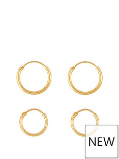 love-gold-9ct-gold-set-of-two-11mm-13mm-hinged-hoop-earrings