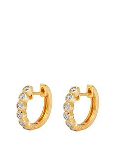 the-love-silver-collection-gold-plated-sterling-silver-cubic-zirconia-huggie-hoop-earrings
