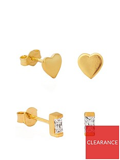 the-love-silver-collection-gold-plated-sterling-silver-cubic-zirconia-2-pack-set-of-heart-baguette-stud-earrings