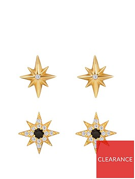 the-love-silver-collection-gold-plated-sterling-silver-sapphire-cubic-zirconia-2-pack-star-stud-earrings