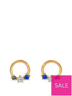 the-love-silver-collection-gold-plated-sterling-silver-sapphire-cubic-zirconia-circle-stud-earrings