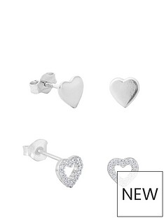 the-love-silver-collection-sterling-silver-cubic-zirconia-2-pack-set-of-heart-stud-earrings