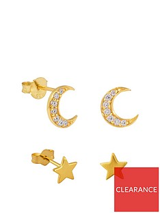the-love-silver-collection-gold-plated-sterling-silver-cubic-zirconia-2-pack-set-of-moon-star-stud-earrings