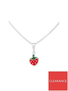 the-love-silver-collection-sterling-silver-enamel-strawberry-childrens-pendant-necklace