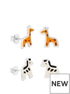 the-love-silver-collection-sterling-silver-enamel-childrens-giraffe-zebra-2-pack-stud-earrings