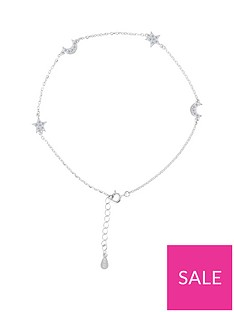 the-love-silver-collection-sterling-silver-cubic-zirconia-moon-star-anklet