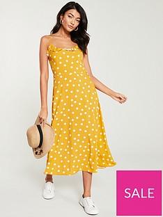 warehouse-spot-strappy-cami-midi-dress-yellow