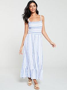 warehouse-cross-stitch-stripe-tiered-dress-blue