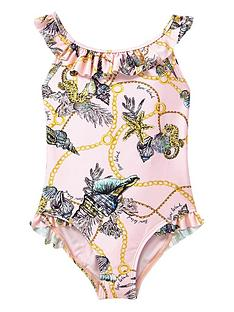 river-island-mini-mini-girls-shell-print-frill-swimsuit-pink