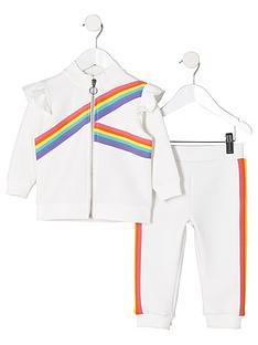 8d4290c5f1e5 River Island Mini Mini girls rainbow tape track outfit - white