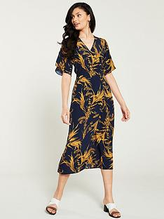 894ff2b4a21 Warehouse Summer Rushes Button Down Midi Dress - Navy Ochre
