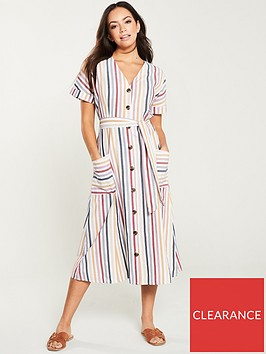 warehouse-stripe-button-through-midi-dress-multi