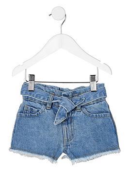 river-island-mini-mini-girls-paperbag-denim-shorts-blue