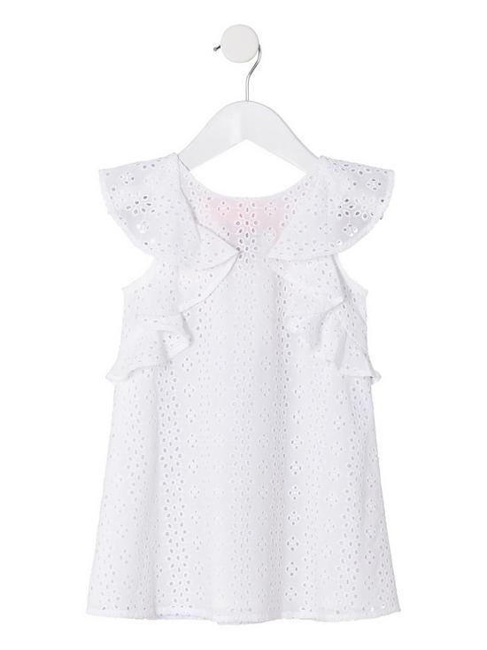 63293573f4f685 River Island Mini Mini Girls Broderie Trapeze Dress - Cream   very.co.uk