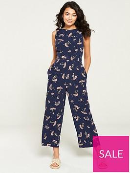 warehouse-dandelion-print-jumpsuit-navy