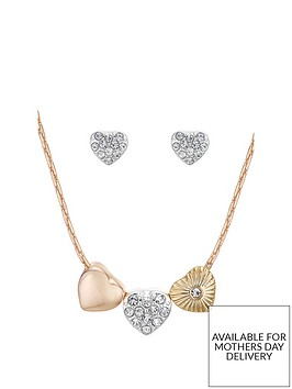 buckley-london-rose-gold-plated-cubic-zirconia-heart-trio-earring-and-pendant-set-with-free-gift-box-and-bag