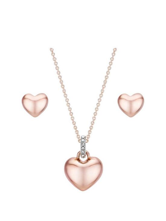 Rose Gold Plated Cubic Zirconia Heart Earring And Pendant Set With Free Gift Box And Bag