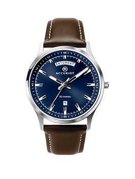 accurist-accurist-blue-sunray-daydate-dial-brown-leather-strap-mens-watch