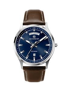 accurist-blue-sunray-daydate-dial-brown-leather-strap-mens-watch
