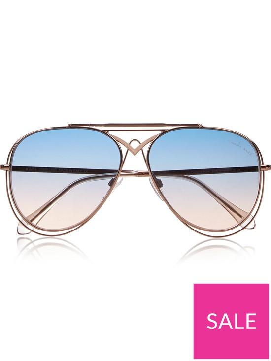 1770840d6 Roberto Cavalli Civitella Blue Gradient Aviator Sunglasses - Blue/Rose Gold