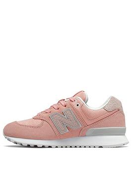 047a0844 574 Junior Trainers - Pink/White