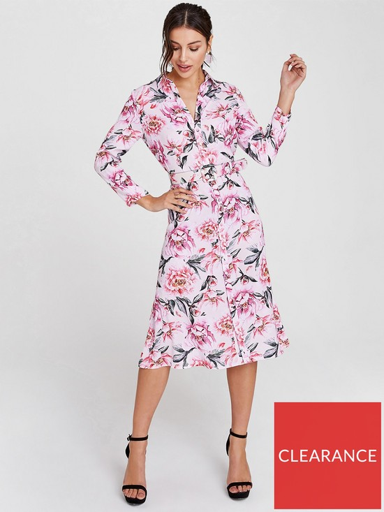 fcf8cf95ed9 Printed Midi Shirt Dress - Blush