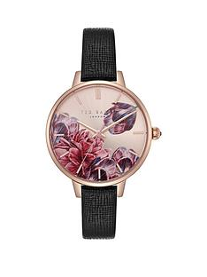 003b1a48e18a Ted Baker Ted Baker Blush Floral Dial Black Leather Strap Ladies Watch