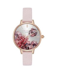3bdd113ad12b4 Ted Baker Ted Baker Silver and Rose Gold Detail Floral Dial Pink Leather  Strap Ladies Watch